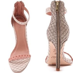 Joie Abbott Snake Embossed Leather Sandal Heel